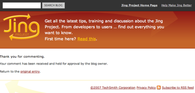 Jing site telling me my comment is awaiting approval.