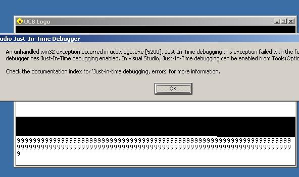 UCB Logo Crashing Screenshot