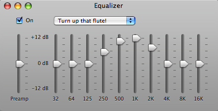 The equalizer in iTunes showing a peak for flute