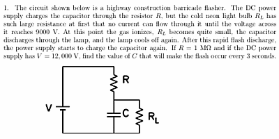 Textbook example of an RC circuit.